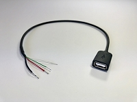 Cable USB-A Female 1.4M (1.3Ft) 4-Wires Solder Terminations Black